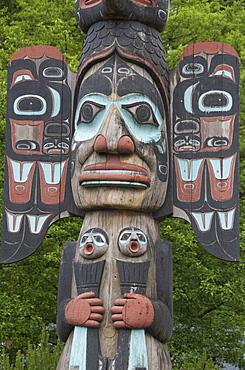 Tlingit Chief Johnson Totem Pole, Ketchikan, Alaska, United States of America, North America