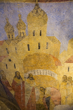 Fresco paintings, Archbishops Palace, UNESCO World Heritage Site, Kremlin, Veliky Novgorod, Novgorod Oblast, Russia, Europe