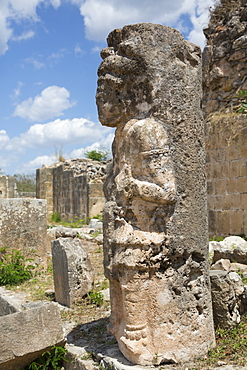 Mayan Ruins, The Palace, Statue, Oxkintok Archaeological Zone, 300 to 1050 AD, Yucatan, Mexico, North America