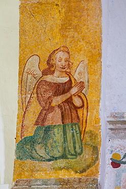 Original frescoes, Former Convent, Church of San Pedro Y San Pablo, 1650, Teabo, Route of the Convents, Yucatan, Mexico, North America