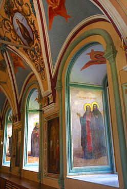 Frescoes, St. Sergius Church, The Holy Trinity Saint Sergius Lavra, UNESCO World Heritage Site, Sergiev Posad, Russia, Europe