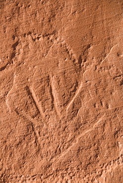 Old Anasazi Indian petroglyph, Mystery Valley, Monument Valley Navajo Tribal Park, Utah, United States of America, North America