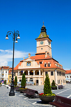 ClocK Tower, Town Hall, 13th Century, Piata Sfatului (Council Square), Brasov, Transylvania Region, Romania