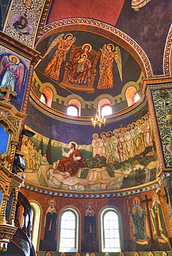 Frescoes, Holy Trinity Cathedral, founded 1902, Sibiu, Transylvania Region, Romania, Europe