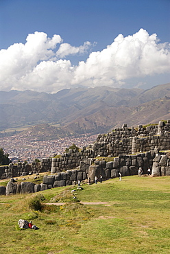 Inca fortification of Sacsayhuaman with Cuzco in background, near Cuzco, Peru, South America