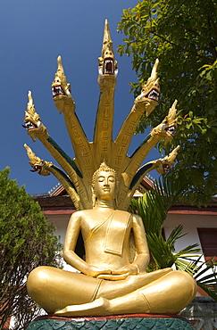 Sitting Buddha with naga heads, Wat Mai Complex, Luang Prabang, Laos, Indochina, Southeast Asia, Asia