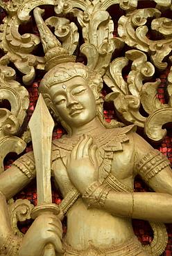 Decorative door, Wat Hai Sok, Vientiane, Laos, Indochina, Southeast Asia, Asia