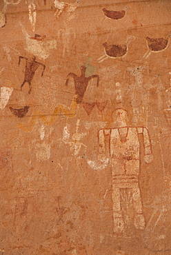 Canyon de Chelly National Monument, Blue Bull Cave, pictographs, Arizona, United States of America, North America
