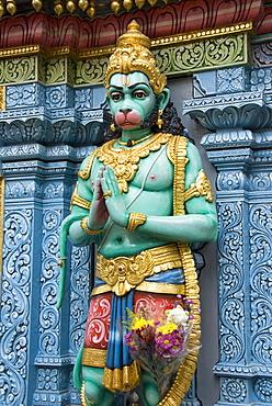 Exterior statue of the Hindu monkey god Hanuman, Sri Krishna Bagawan Temple, Singapore, Southeast Asia, Asia