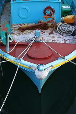 Fishing boat moored in Pothia harbour, Kalymnos, Dodecanese, Greek Islands, Greece, Europe