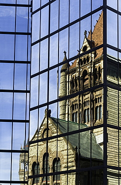 Trinity Church reflected in the John Hancock Building, Boston, Massachusetts, New England, United States of America, North America