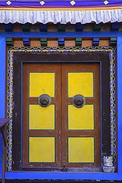 Door at the Buddhist monastery in Tengboche in the Khumbu region of Nepal, Asia