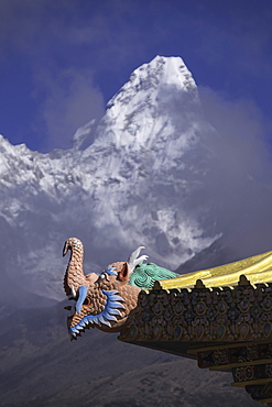 Detail at the Buddhist monastery in Tengboche in the Khumbu region of Nepal with Ama Dablam mountain in the background, Himalayas, Nepal, Asia
