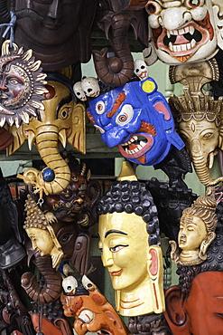 Masks on sale in a shop in Kathmandu, Nepal, Asia