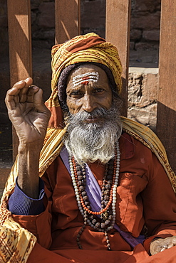 A Holy Man in the Durbar Square area of Kathmandu, Nepal, Asia