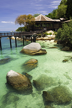 Path leading to one of the restaurants at the luxury resort and spa of Pangkor Laut, Malaysia, Southeast Asia, Asia