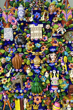 Close up of a traditional Tree of Life, a themed clay sculpture typical to central Mexico, Merida, Yucatan, Mexico, North America
