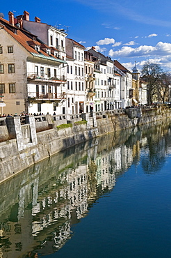 Houses along the River Ljubljanica in Ljubljana, Slovenia, Europe