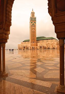 Hassan II Mosque through archway, Casablanca, Morocco, North Africa, Africa