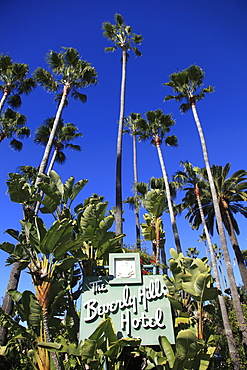 Sign for Beverly Hills Hotel, Beverly Hills, Los Angeles, California, USA