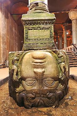 Medusa Head, Byzantine Basilica Cistern, Sunken or Underground Palace, Sultanahmet, Istanbul, Turkey, Europe