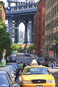 Manhattan Bridge and Empire State Building in the distance, DUMBO, Brooklyn, New York City, New York, United States of America, North America