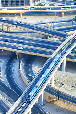 Road interchange and Metro train, Dubai, United Arab Emirates, Middle East