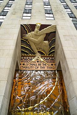 Art Deco detail of entrance to 30 Rockefeller Plaza, Rockefeller Center, Manhattan, New York City, New York, United States of America. North America