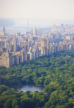 High angle view of Upper West Side and Central Park, Manhattan, New York City, New York, United States of America, North America