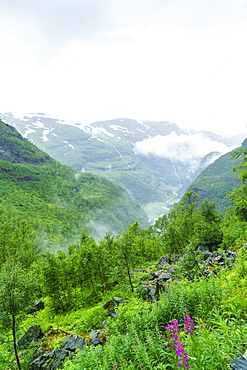 Waterfalls and mountain valleys viewed from Vatnahalsen, reached by the Flam Railway, Flamsbana, Flam, Norway, Scandinavia, Europe