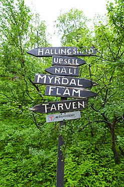 Signpost near Flam, Norway, Scandinavia, Europe