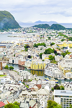 High view of the harbour and town of Alesund, Norway, Scandinavia, Europe