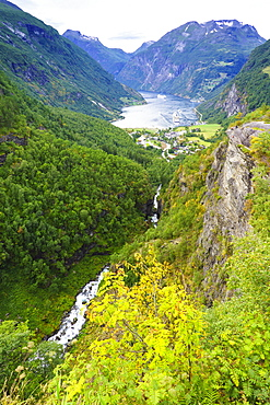 High view of Geiranger and Geirangerfjord. UNESCO World Heritage Site, Norway, Scandinavia, Europe