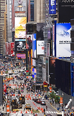 High angle view of Broadway and Times Square, Manhattan, New York City, New York, United States of America, North America
