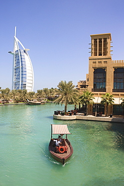 Madinat Jumeirah and Burj Al Arab Hotels, Jumeirah Beach, Dubai, United Arab Emirates, Middle East
