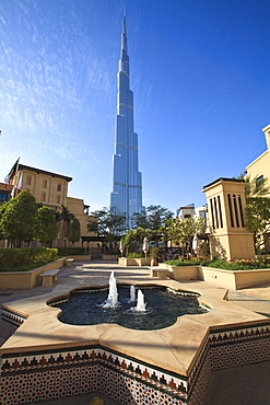 Burj Khalifa, the tallest man made structure in the world at 828 metres, viewed from the Palace Hotel, Downtown Dubai, Dubai, United Arab Emirates, Middle East