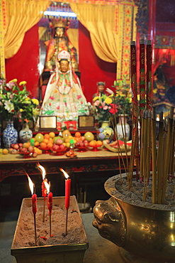 Offerings and incense in the  Man Mo Temple, built in 1847, Sheung Wan, Hong Kong, China, Asia