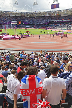 Spectators with Team GB Union flags in the Olympic Stadium, 2012 Olympic Games, London, England, United Kingdom, Europe