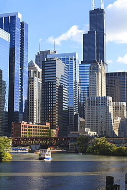 Skyscrapers including Willis Tower, formerly the Sears Tower, in Downtown Chicago by the Chicago River, Chicago, Illinois, United States of America, North America