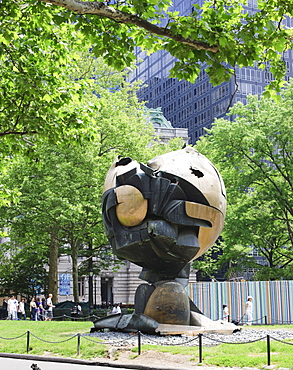 The Sphere, originally stood at the World Trade Center it was damaged during the 9 11attack and subsequently moved to Battery Park where it now stands as a memorial, New York City, New York, United States of America, North America