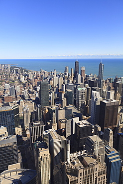 Chicago cityscape, looking north from Willis Tower, Chicago, Illinois, United States of America, North America