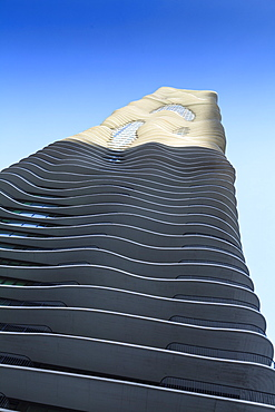The unusual Aqua Tower designed by Jeanne Gang, Chicago, Illinois, United States of America, North America