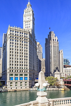 The Wrigley Building and Tribune Tower by the Chicago River, Chicago, Illinois, United States of America, North America