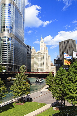 Chicago River Walk and towers including Trump Tower and the Wrigley Building, Chicago, Illinois, United States of America, North America