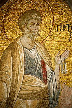 Mosaic of St. Peter, Church of St. Saviour in Chora, Istanbul, Turkey, Europe