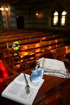 Taleth, kippa, yad and Torah in the Great Synagogue, Geneva, Switzerland, Europe
