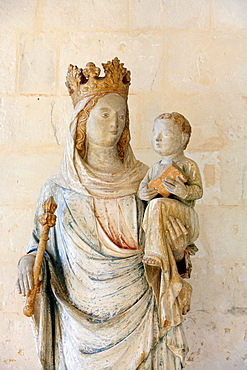 Virgin and Child in Notre Dame du Bec Benedictine Abbey, Le Bec Hellouin, Eure, Normandy, France, Europe