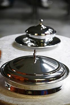 Eucharist bowls used for African Evangelical celebration, Neuilly sur Marne, Seine Saint Denis, France, Europe
