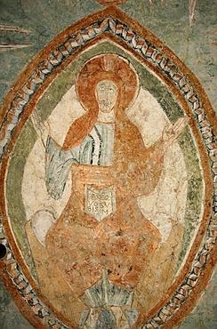 A 12th century Romanesque fresco depicting Jesus Christ in Saint Chef abbey church, Saint-Chef-en-Dauphine, Isere, France, Europe