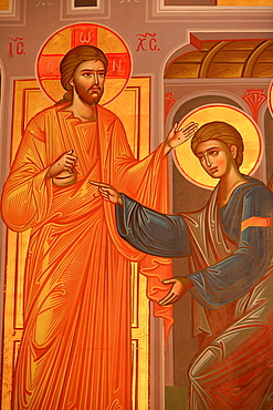 Greek Orthodox icon depicting Christ showing his wounds, Thessaloniki, Macedonia, Greece, Europe